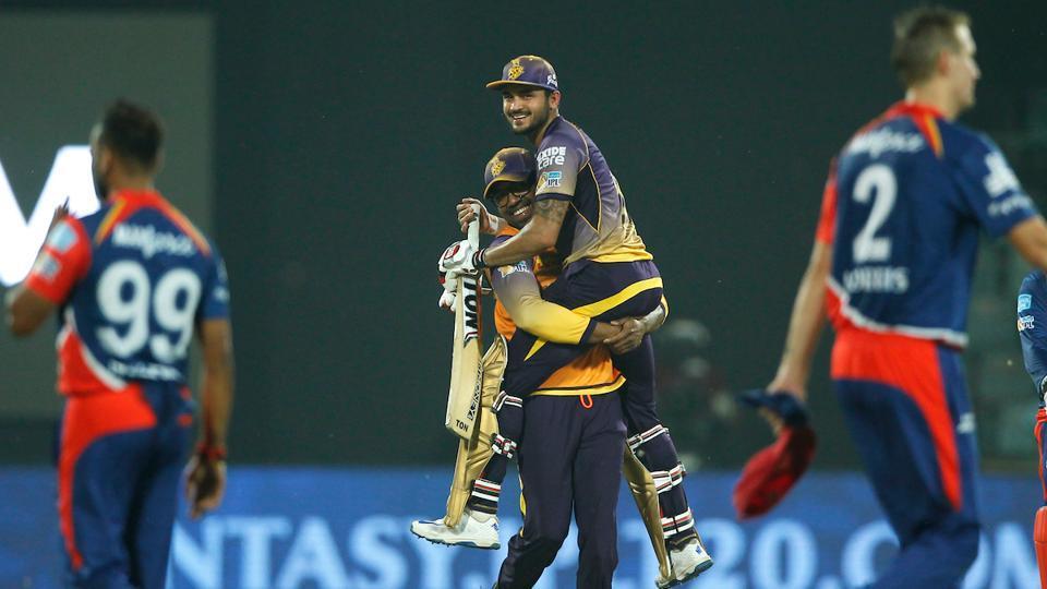 Manish Pandey of Kolkata Knight Riders celebrates the team's win against Delhi Daredevils during their 2017 Indian Premier League (IPL) match at the Feroz Shah Kotla Stadium in Delhi.