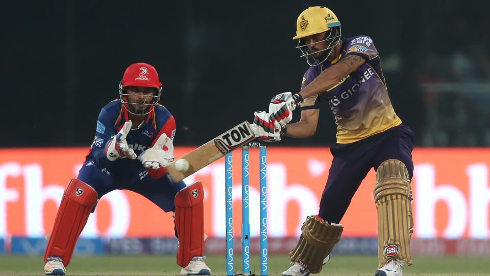 Manish Pandey of Kolkata Knight Riders plays a shot during the 2017 Indian Premier League match against Delhi Daredevils at the Feroz Shah Kotla in Delhi on Monday. Get full scorecard of Delhi Daredevils vs Kolkata Knight Riders here.