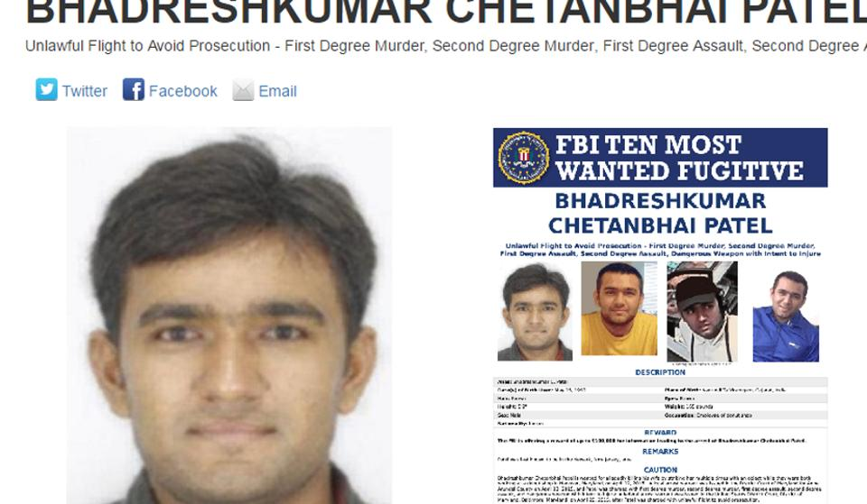 FBI's most wanted list,Bhadreshkumar Chetanbhai Patel,Indian in FBI list