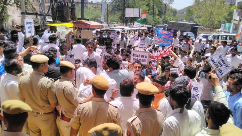 Mewat Yuva Sangthan takes out a silent march in Alwar demanding arrest of accused in Pehlu Khan lynching case.