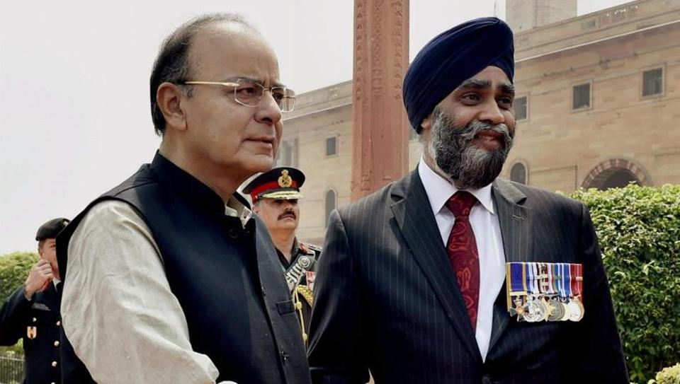 Finance minister Arun Jaitley and Canadian defence minister Harjit Sajjan.