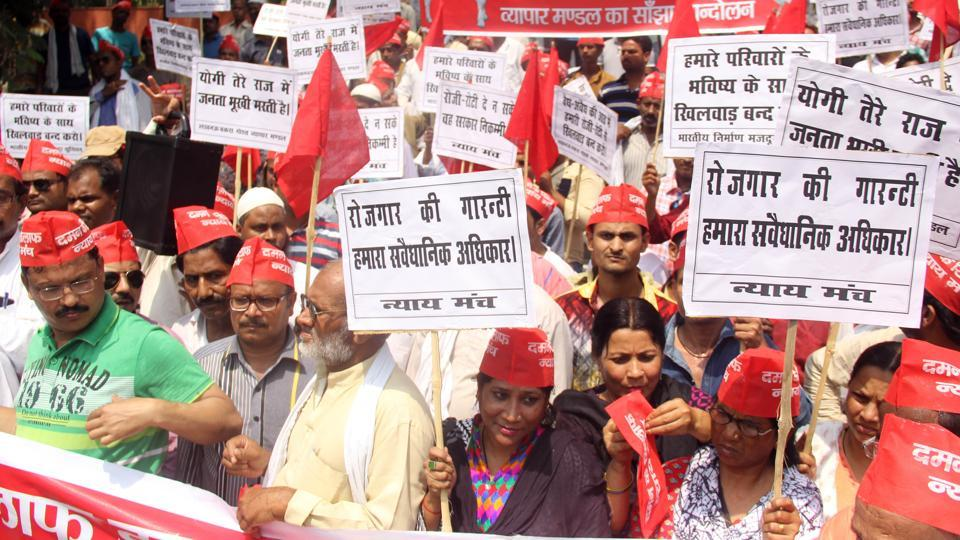 Meat traders protesting in Lucknow on Monday.