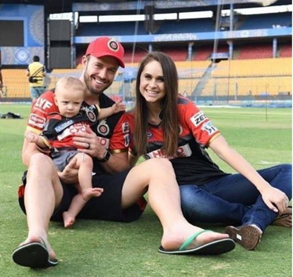 Royal Challengers Bangalore star batsman AB de Villiers's wife Danielle was seen with their son Abraham Benjamin, roaring for their team.