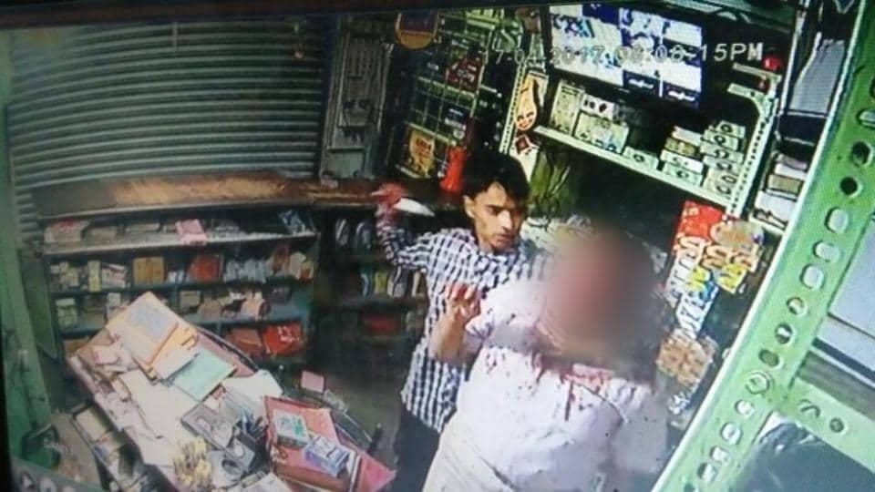 A CCTV grab of a businessman's killing at Forbesganj in Araria district of Bihar.
