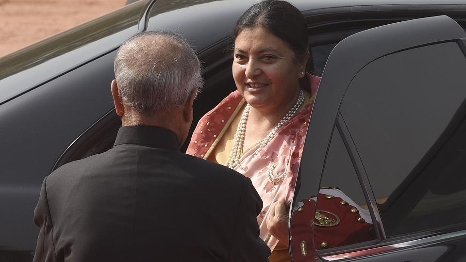 Nepal President,  Bidhya Devi Bhandari arrived here on Monday on her first overseas tour during which she will hold talks with top Indian leadership to strengthen bilateral ties. (Sonu Mehta/HT PHOTO)
