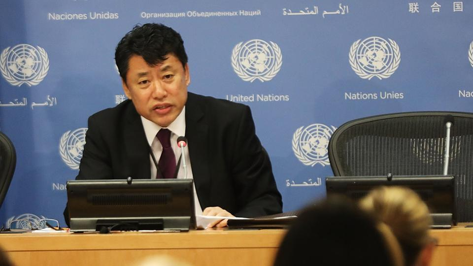 North Korea Deputy United Nations Ambassador Kim In Ryong speaks to the media at the UN on April 17.
