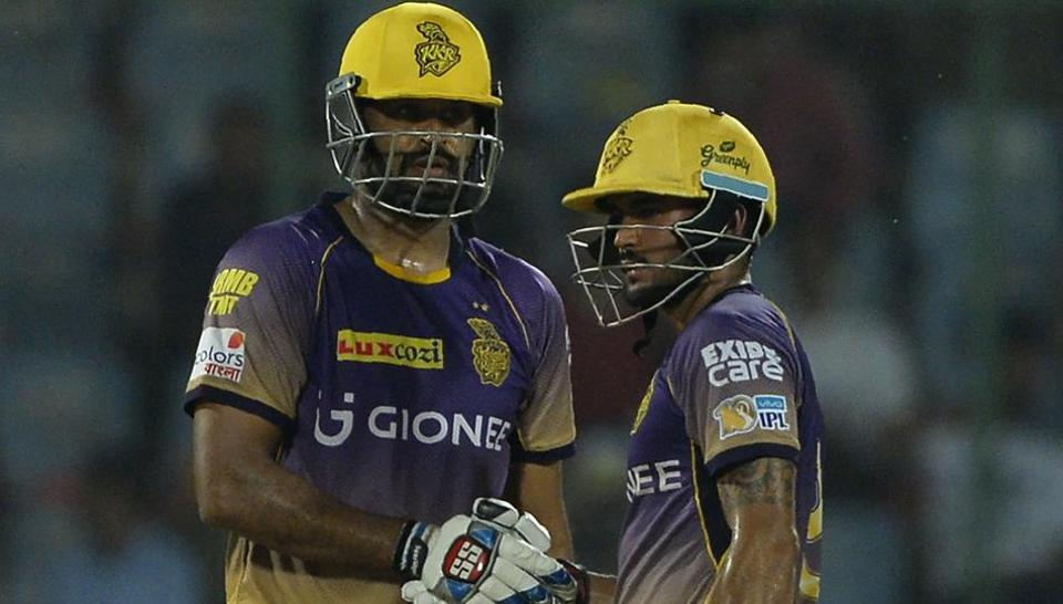 Kolkata Knight Riders' Yusuf Pathan (left) is congratulated by teammate Manish Pandey after Pathan scored a half-century in an Indian Premier League T20 match against Daredevils at the Feroz Shah Kotla in New Delhi on Monday.