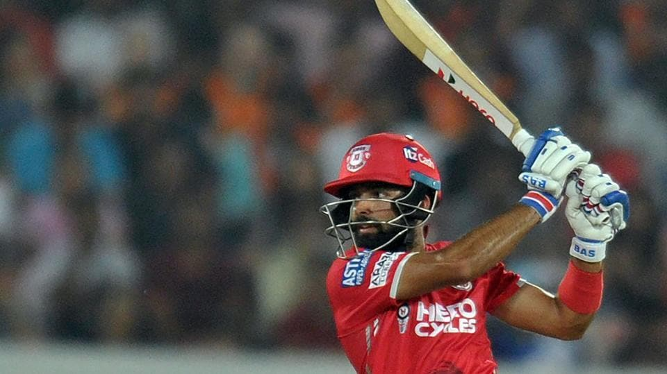 Manan Vohra plays a shot during his 95-run innings in the 2017 Indian Premier League (IPL) T20 match between Sunrisers Hyderabad and Kings XI Punjab at the Rajiv Gandhi International Cricket Stadium in Hyderabad on April 17.