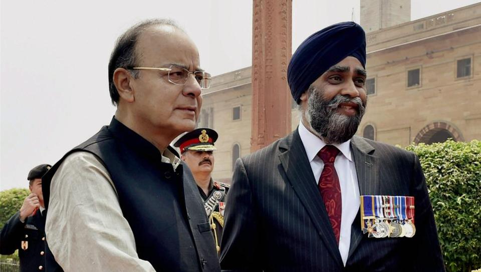 Defence minister Arun Jaitley shakes hands with his Canadian counterpart Harjit Singh Sajjan at South Block in New Delhi on Tuesday.