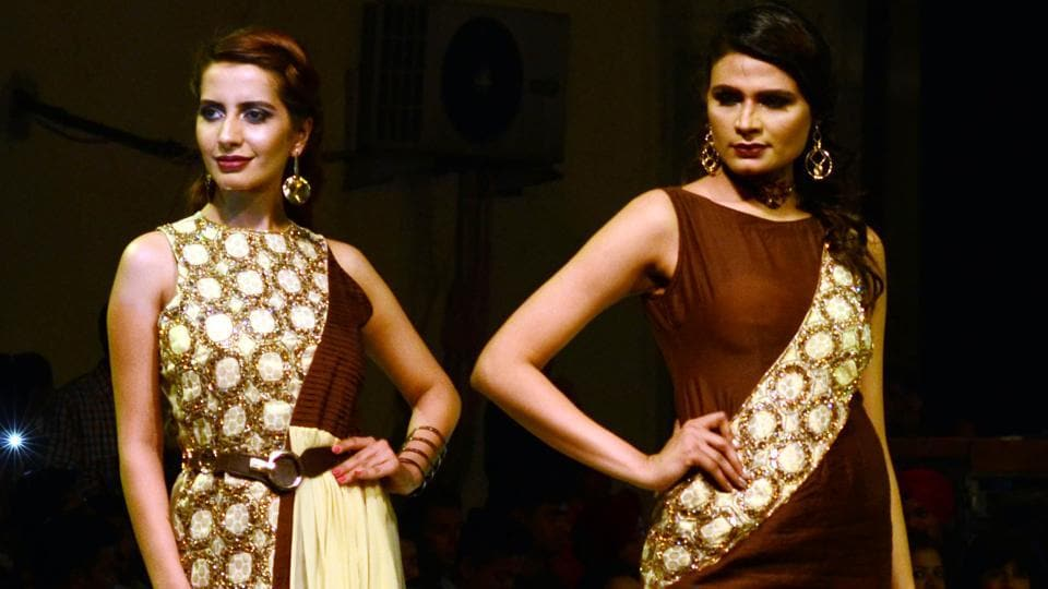 Models on the ramp during Ludhiana Fashion Week by students on Saturday night, April 15. (Jagtinder Singh Grewal/HT)