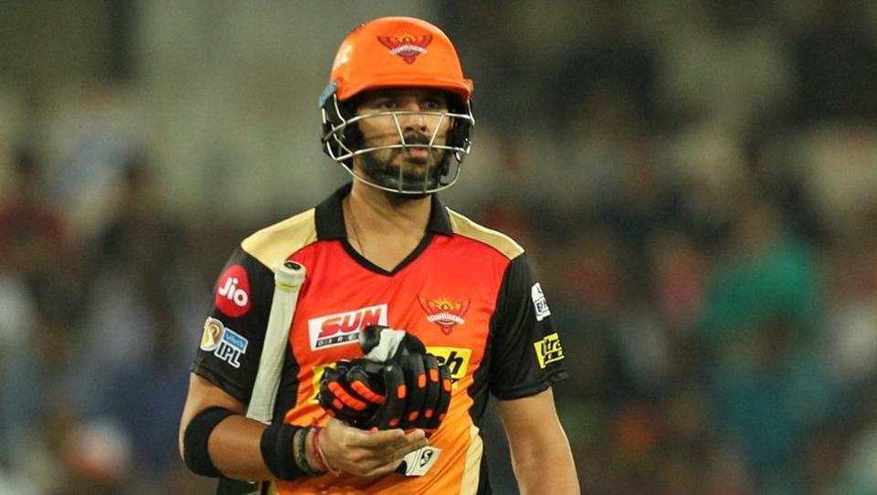 Sunrisers Hyderabad then lost Moises Henriques and Yuvraj Singh (in pic) in the space of two deliveries.  (BCCI)