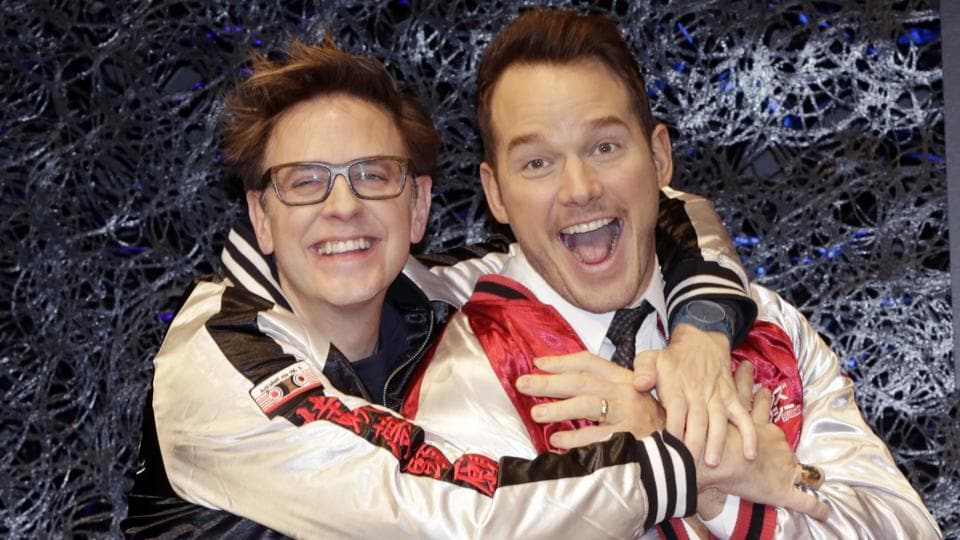 Director James Gunn, left, laughs with American actor Chris Pratt during a media conference of Guardians of the Galaxy Vol. 2 in Tokyo.