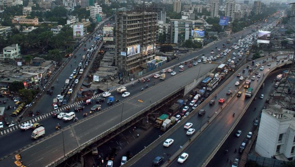 Vehicles run slowly on the Amar Mahal flyover at Chembur in Mumbai on Monday. The flyover will be shut for repairs for four months.