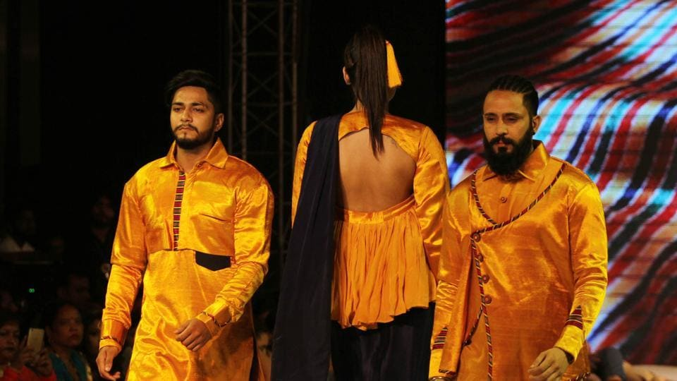 Models on the ramp during Ludhiana Fashion Week by students on Monday. (Jagtinder Singh Grewal/HT Photo)