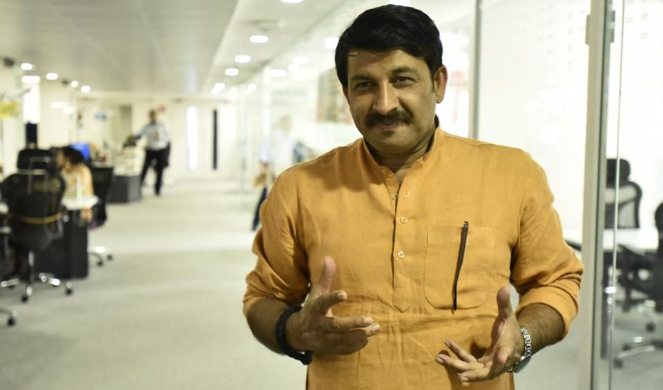Delhi BJP president Manoj Tiwari at Hindustan Times office on Tuesday.