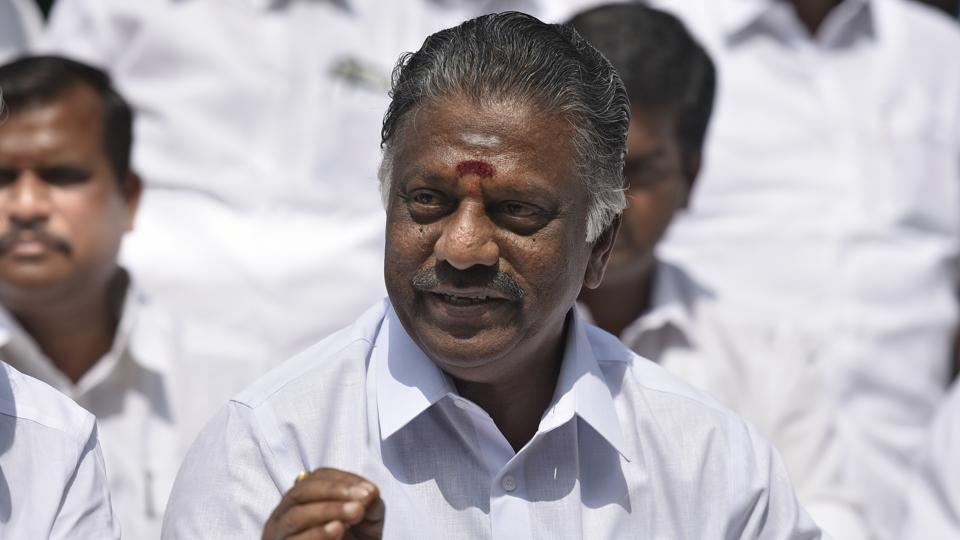 Former CM of Tamil Nadu O Panneerselvam during the press conference in New Delhi. He has stuck to his demand for the ouster of the ruling group's jailed leader, VK Sasikala, and her influential clan.