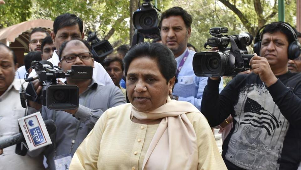 BSP leader Mayawati outside Parliament House, New Delhi, March 20.  There is a realisation that Dalit today is a solidarity and a fluid pack. Electoral genius lies in shuffling the pack and that's a  skill Modi's BJP displayed.