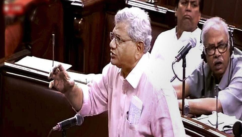 CPI(M) leader Sitaram Yechury speaks in the Rajya Sabha in New Delhi.