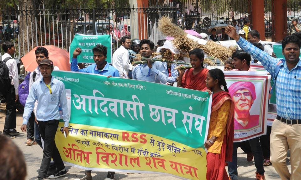 Tribal students affiliated to the Advasi Chatra Sangh took out a symbolic 'funeral procession' of the BJP state government on Tuesday to protest the renaming of Ranchi's oldest college as Dr. Shyama Prasad Mukherjee University.