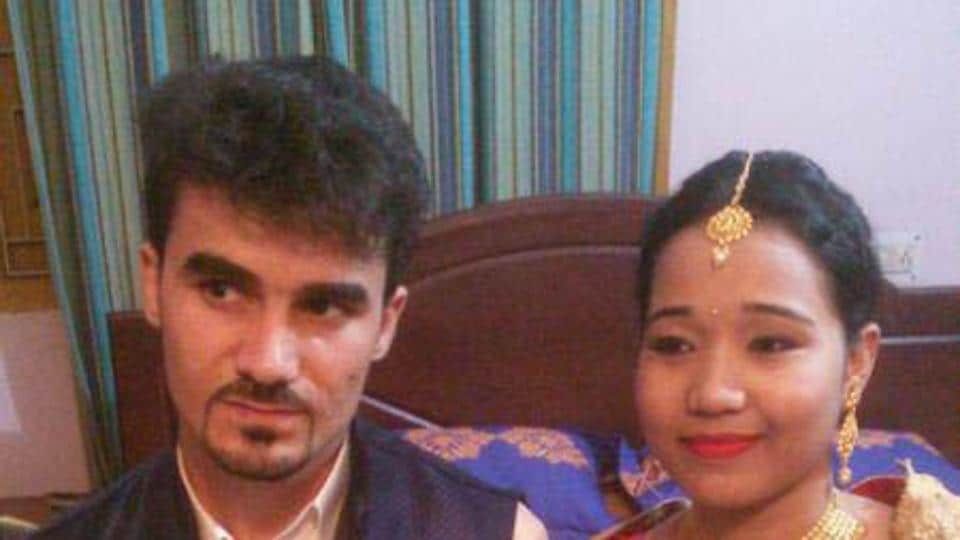 Afghan national and student of IIT- ISM Mohammed Hasibulla with his Indian bride  in Dhanbad