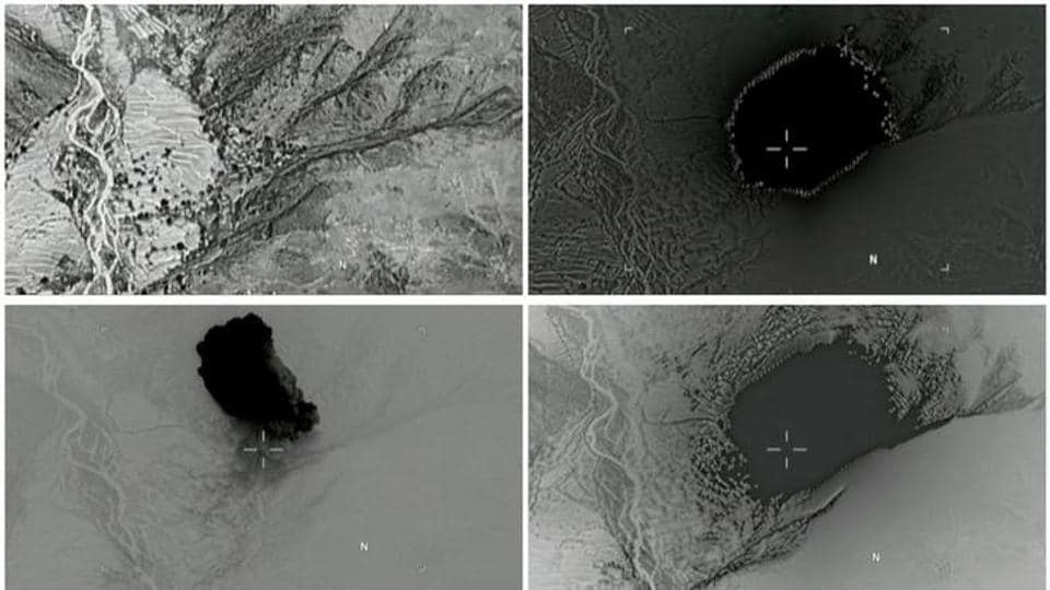 A combination of still images taken from a video released by the US Department of Defence on April 14, 2017 shows (clockwise) the explosion of a MOAB, or
