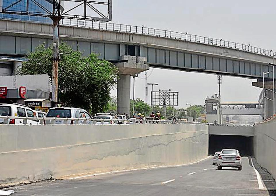 The underpass near DLF 2 Rapid Metro station was opened to the public on a trial basis on Tuesday.