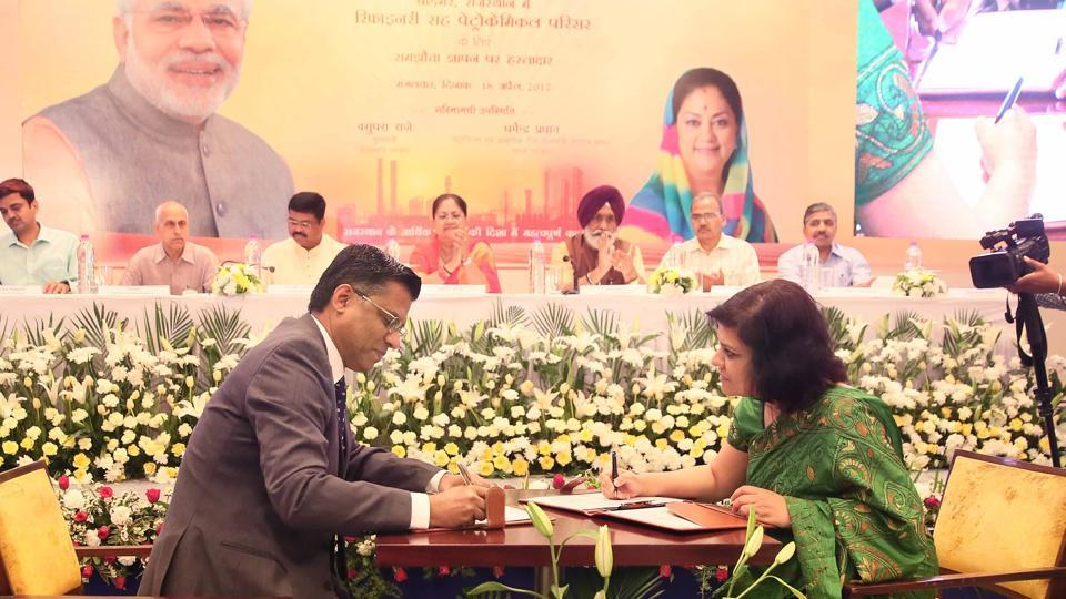 Director Refineries, HPCL,  Vinod S Shenoy and Rajasthan's principal secretary (mines and petroleum) Aparna Arora sign a memorandum of understanding (MoU) to set up India's first Bharat Stage-VI (BS-VI) oil refinery and petrochemical complex in Pachpadra area of Barmer district .