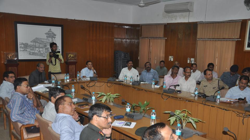 Officials attend the disaster management meeting in Dehradun on Tuesday.