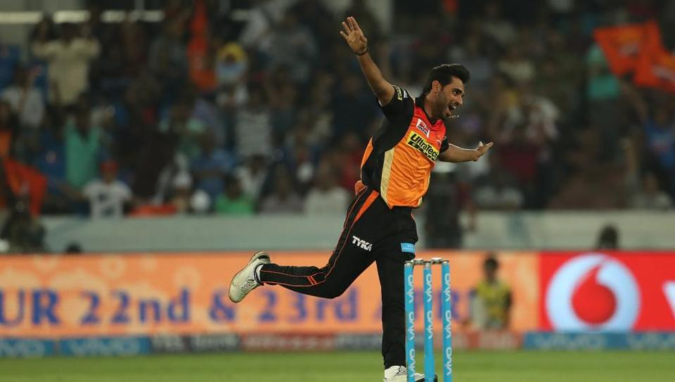 Bhuvneshwar Kumar picked up his maiden five-wicket haul as Sunrisers Hyderabad registered a narrow five-run win over Kings XI Punjab in the 2017 Indian Premier League.