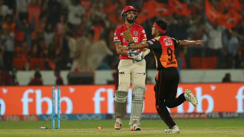 Kings XI Punjab were still left with 11 from the last over but Sunrisers Hyderabad's Siddarth Kaul sealed the win by bowling Ishant Sharma.  (BCCI)