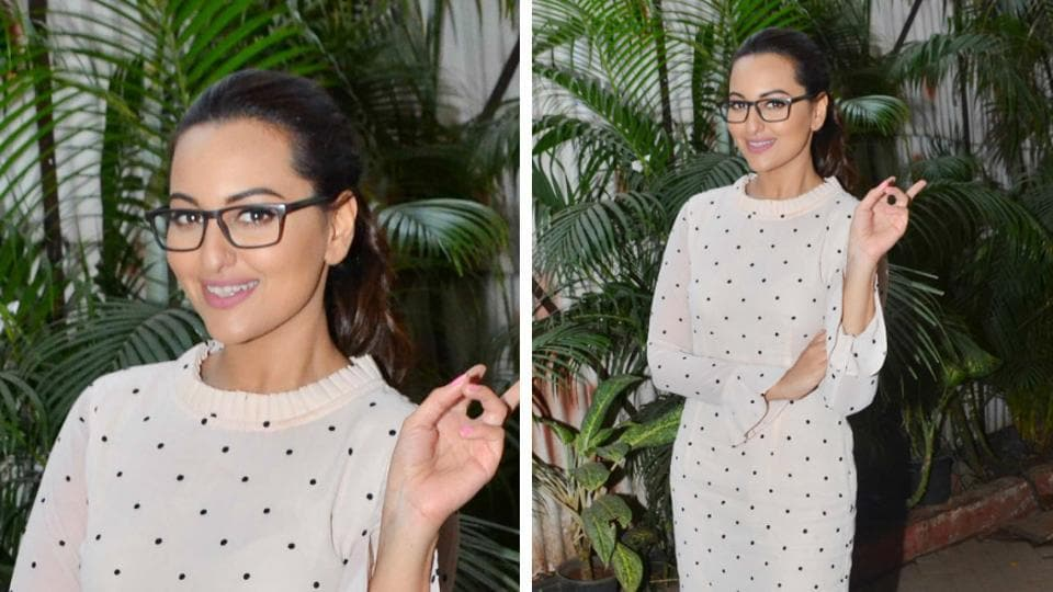 Actor Sonakshi Sinha wore a polka-dot Kaprapan dress, with her hair pulled back and rounded out the look with a pair of Nike sneakers and eyewear.