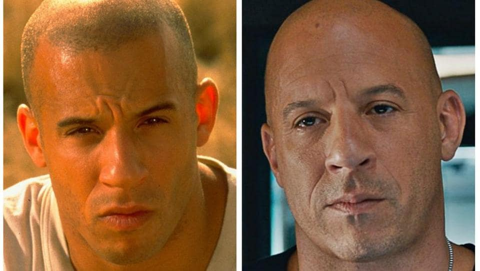 Vin Diesel as Dominic Toretto in The Fast and the Furious (L) and The Fate of the Furious (R).