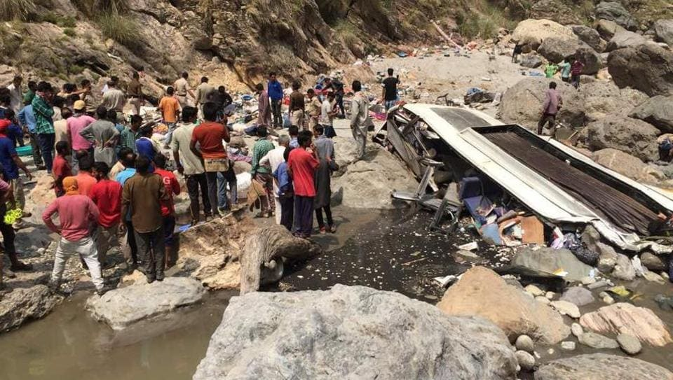 A bus carrying around 50 passengers plunged into the Tons river in Himachal Pradesh, killing 45 on board.