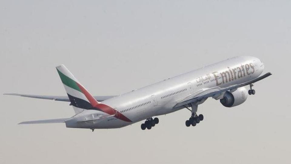 File photo of an Emirates airlines Boeing 777-300 aircraft taking off during the second day of the Dubai Airshow in November 2011.