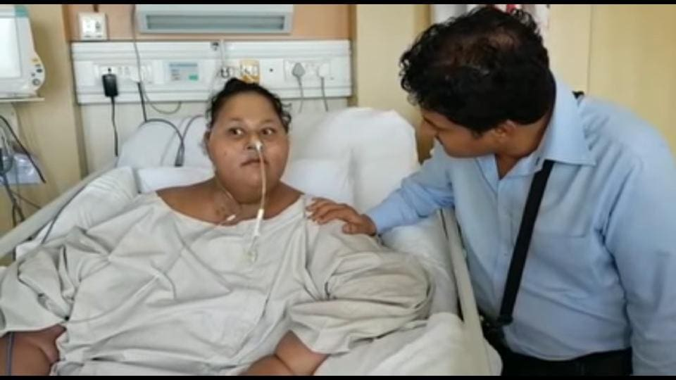 Egyptian woman Eman  Ahmed at Saifee Hospital in Mumbai.