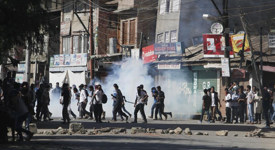 Protesters clashed with security forces on the day of polling for Srinagar Lok Sabha constituency.