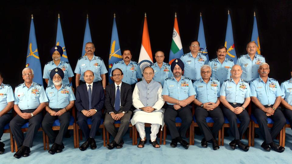 Defence minister Arun Jaitley with Air Chief Marshal BS Dhanoa (his R) and senior Air Force officers on the inaugural day of Air Force Commanders' Conference at Air Headquarters in New Delhi on April 19.