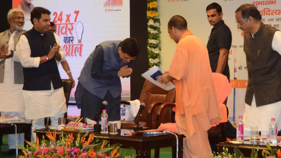 Union power minister Piyush Goyal greets Uttar Pradesh chief minister Yogi Adityanath in Lucknow on April 14.