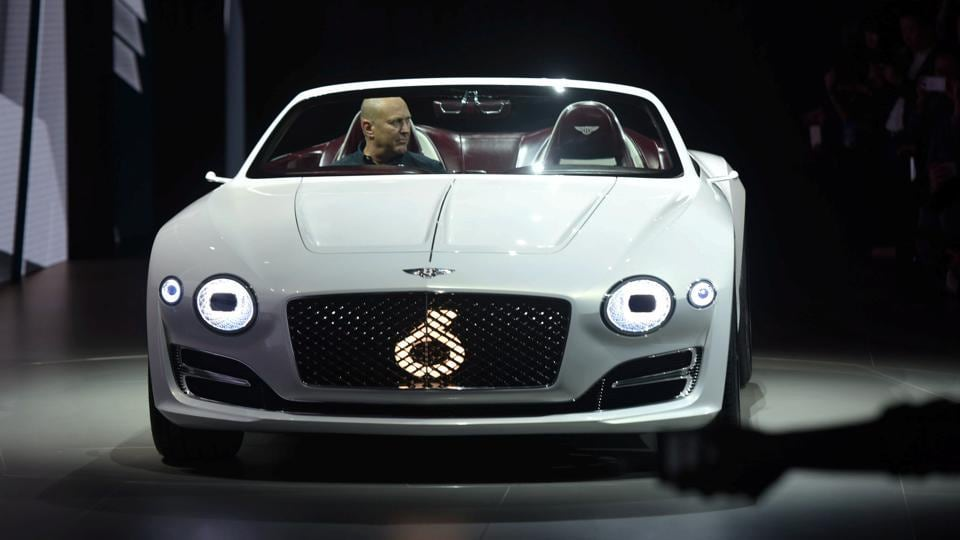 A Bentley EXP 12 Speed 6e concept car is presented at an event ahead of the Shanghai Auto Show. The Bentley concept made its debut at the 2017 Geneva International Motor Show in March.  (REUTERS)
