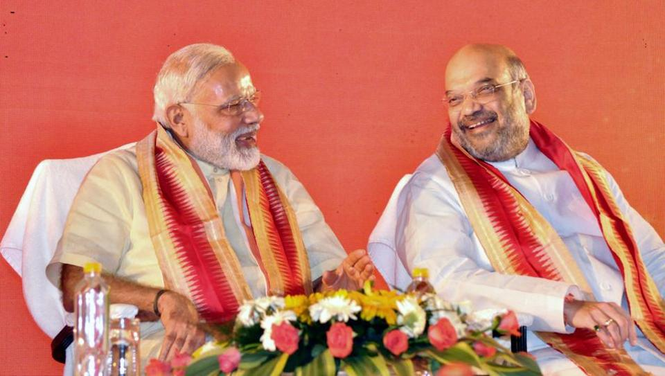 Bhubaneswar: Prime Minister Narendra Modi with party president Amit Shah at BJP's National executive meet in Bhubaneswar on Saturday.