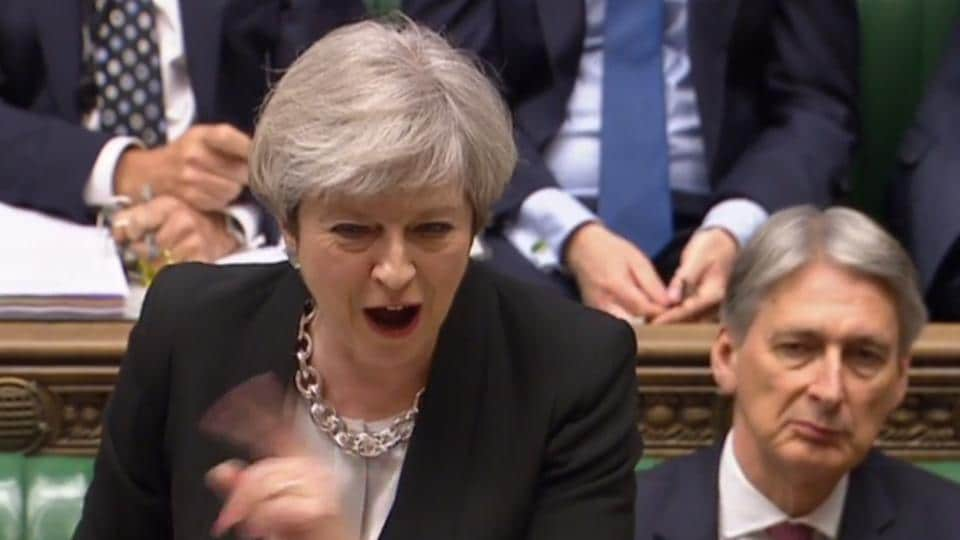 An image taken from footage broadcast by the UK Parliamentary Recording Unit on April 19, 2017 shows Prime Minister Theresa May speaking during Prime Minister's Questions in the House of Commons in London. Britain's parliament votes on Wednesday on  holding a snap election in June as May seeks to make strong gains against the opposition before gruelling Brexit negotiations.