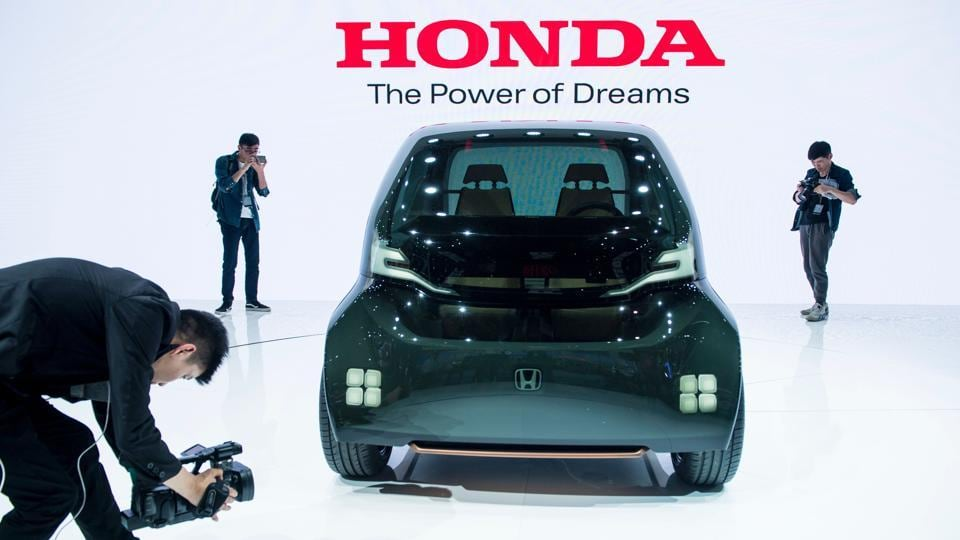 A concept car by Japanese car maker Honda is displayed during the first day of the 17th Shanghai International Automobile Industry Exhibition in Shanghai on Wednesday. (AFP)