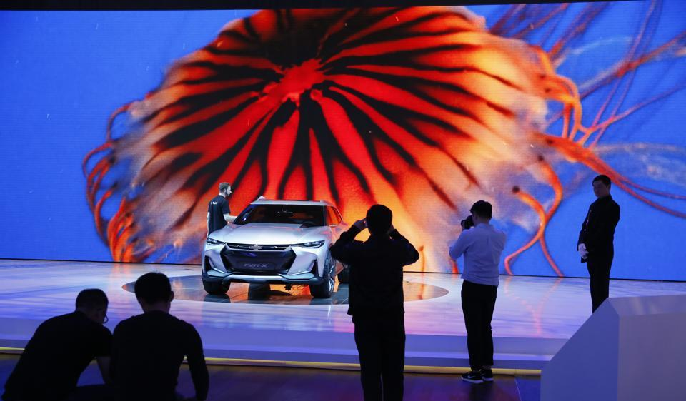 A Chevrolet FNR X concept car  at the Auto Shanghai 2017 show at the National Exhibition and Convention Center in Shanghai  on Wednesday. Here are some of the best concept cars displayed at the the global industry's biggest marketing event of the year.ngry SUVs.  (AP Photo)
