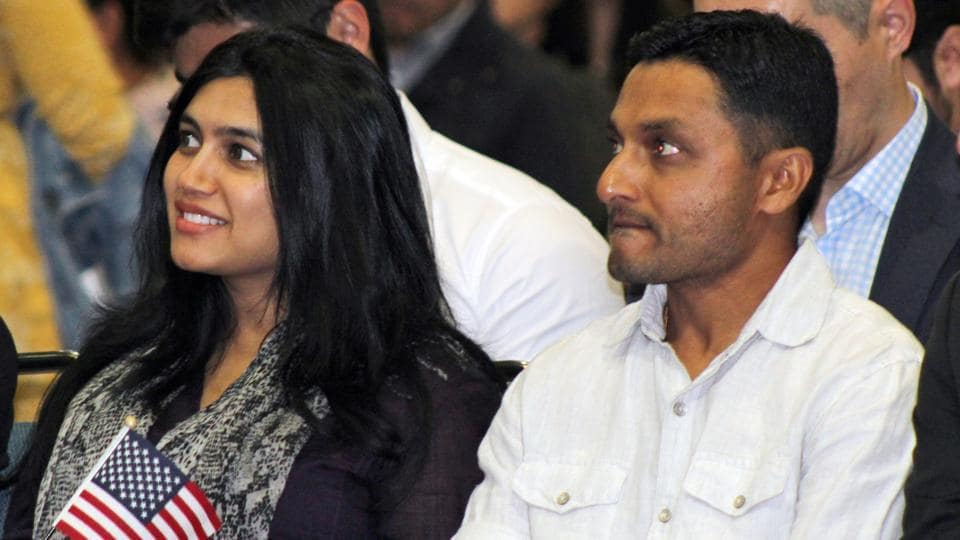 India-born US national cricket team player Timil Kaushik Patel (right) and his wife Pooja Patel at the naturalisation ceremony in Los Angeles on Tuesday. Patel says becoming an American will help bring new players onto the team since there's only three spots allowed for non-citizen residents.