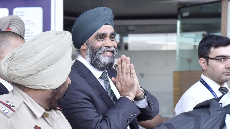 Canadian defence minister Harjit Singh Sajjan arrives at the airport in Amritsar on Wednesday, April 19.