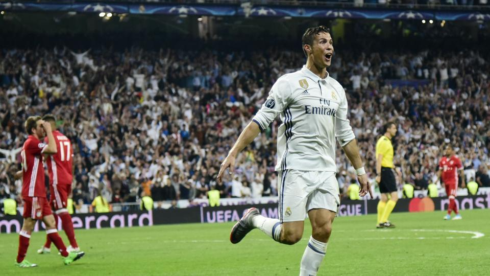 Real Madrid C.F.'s Cristiano Ronaldo celebrates a goal during the UEFA Champions League quarterfinal second leg match Real against FC Bayern Munich at the Santiago Bernabeu in Madrid on Tuesday.