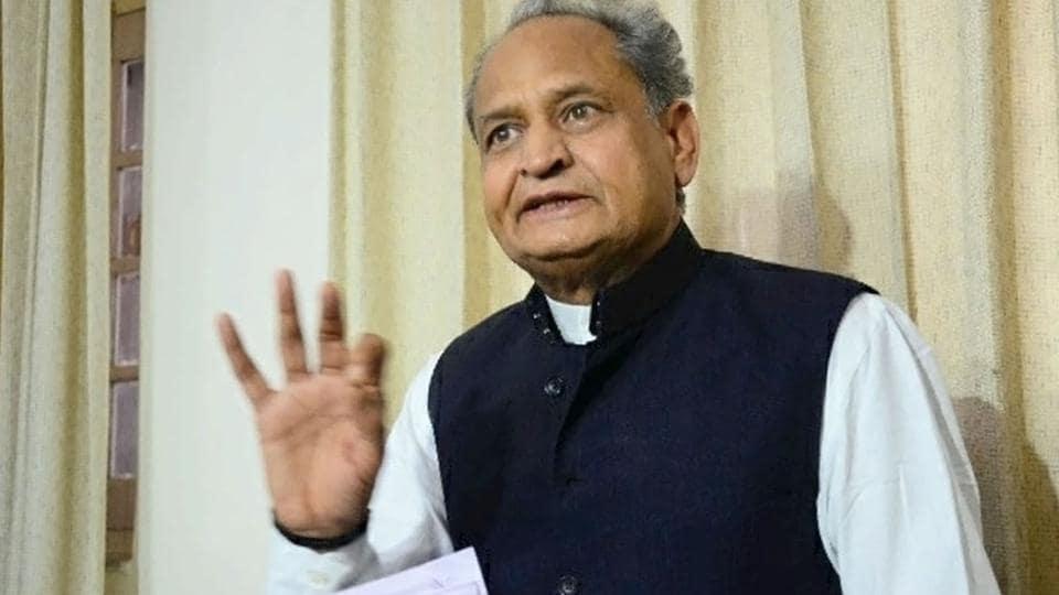 Former Rajasthan CM Ashok Gehlot addresses media in Jaipur on Wednesday.
