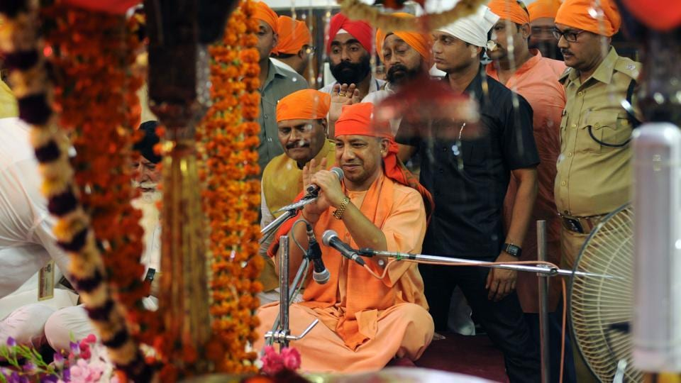 Uttar Pradesh chief minister Yogi Adityanath paying obeisance at Yahiyaganj Gurudwara on the occasion of Baisakhi in Lucknow, India. He said 8,544 liquor outlets operating in residential areas, religious spots or near educational institutions should be removed in compliance with a Supreme Court order.