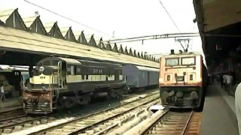 Trains at a railway station in India.