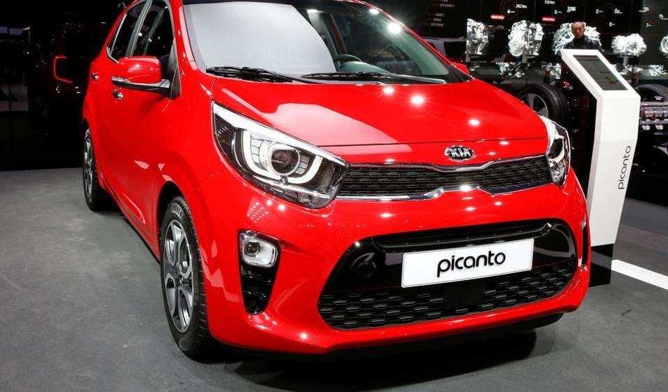 A Kia Picanto car is seen during the 87th International Motor Show at Palexpo in Geneva.
